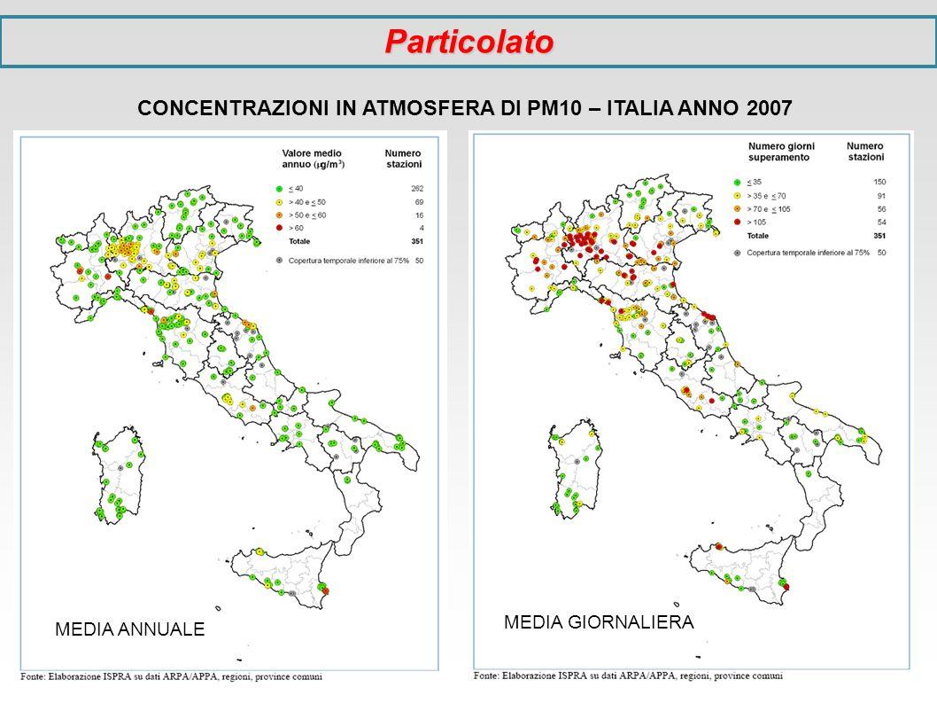 CONCENTRAZIONI IN ATMOSFERA DI PM10 – ITALIA ANNO 2007 MEDIA ANNUALE MEDIA GIORNALIERA Particolato