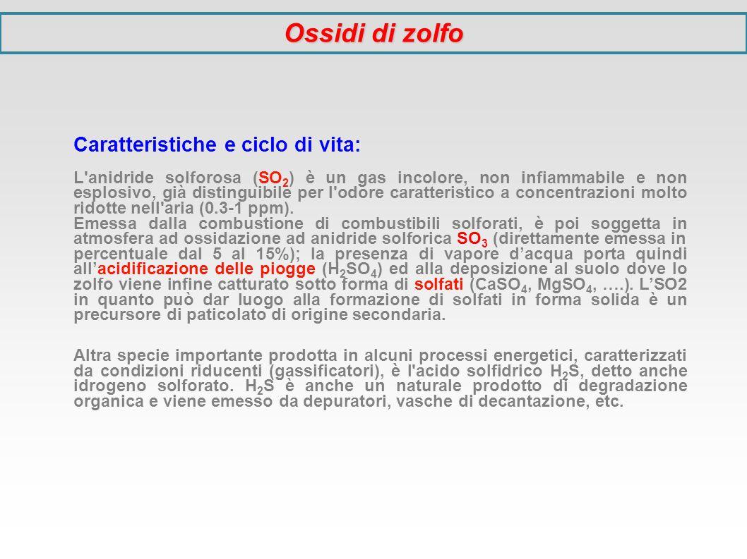 Ossidi di zolfo Caratteristiche e ciclo di vita: L'anidride solforosa (SO 2 ) è un gas incolore, non infiammabile e non esplosivo, già distinguibile p
