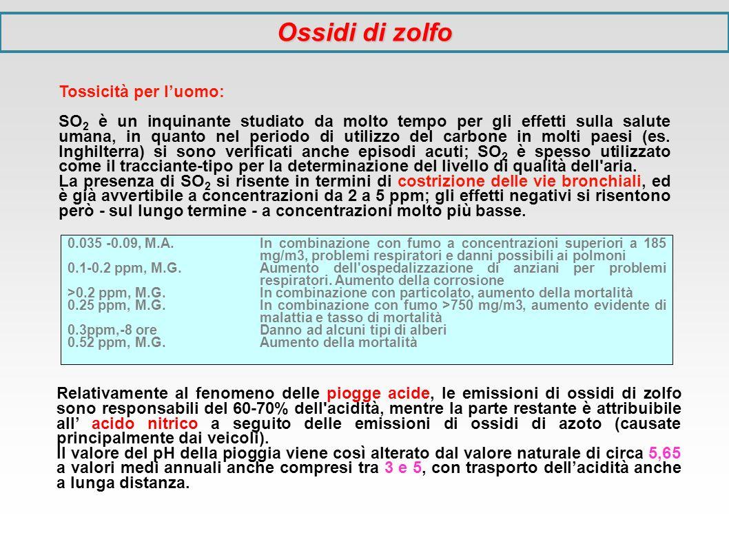 Tossicità per luomo: SO 2 è un inquinante studiato da molto tempo per gli effetti sulla salute umana, in quanto nel periodo di utilizzo del carbone in