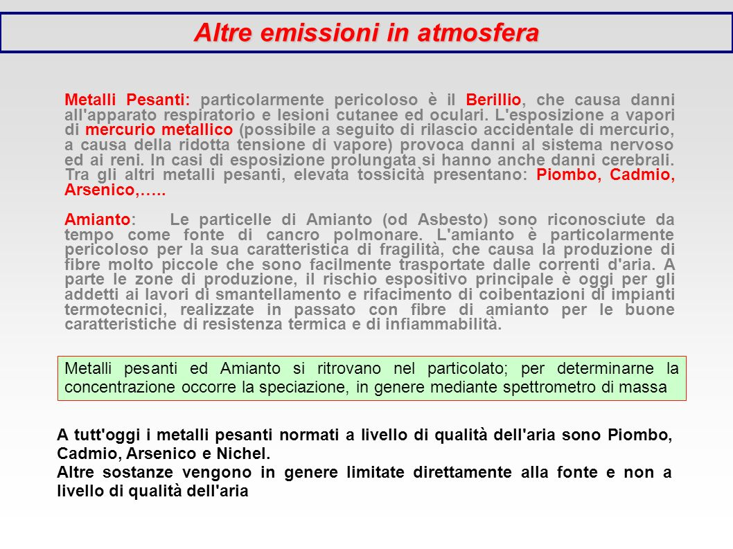 Altre emissioni in atmosfera Metalli Pesanti: particolarmente pericoloso è il Berillio, che causa danni all'apparato respiratorio e lesioni cutanee ed