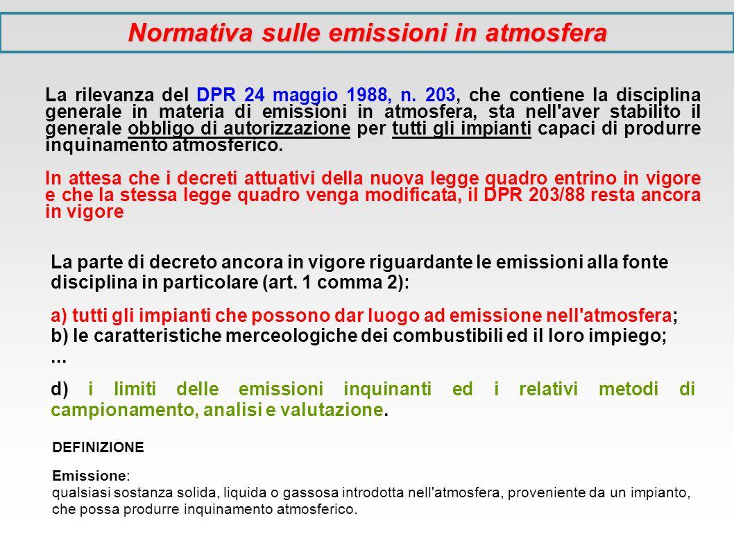 Normativa sulle emissioni in atmosfera La rilevanza del DPR 24 maggio 1988, n. 203, che contiene la disciplina generale in materia di emissioni in atm