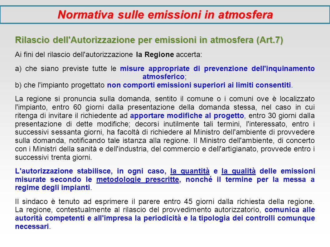 Rilascio dell'Autorizzazione per emissioni in atmosfera (Art.7) Ai fini del rilascio dell'autorizzazione la Regione accerta: a) che siano previste tut