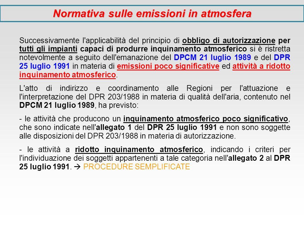 Successivamente l'applicabilità del principio di obbligo di autorizzazione per tutti gli impianti capaci di produrre inquinamento atmosferico si è ris