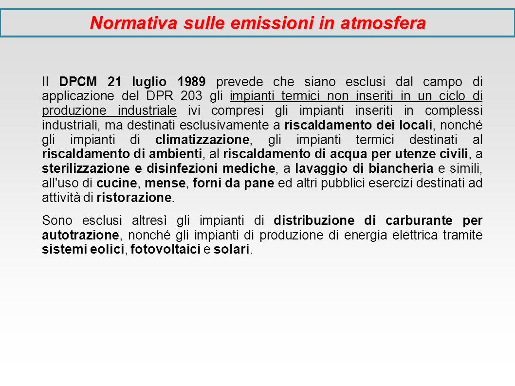 Il DPCM 21 luglio 1989 prevede che siano esclusi dal campo di applicazione del DPR 203 gli impianti termici non inseriti in un ciclo di produzione ind