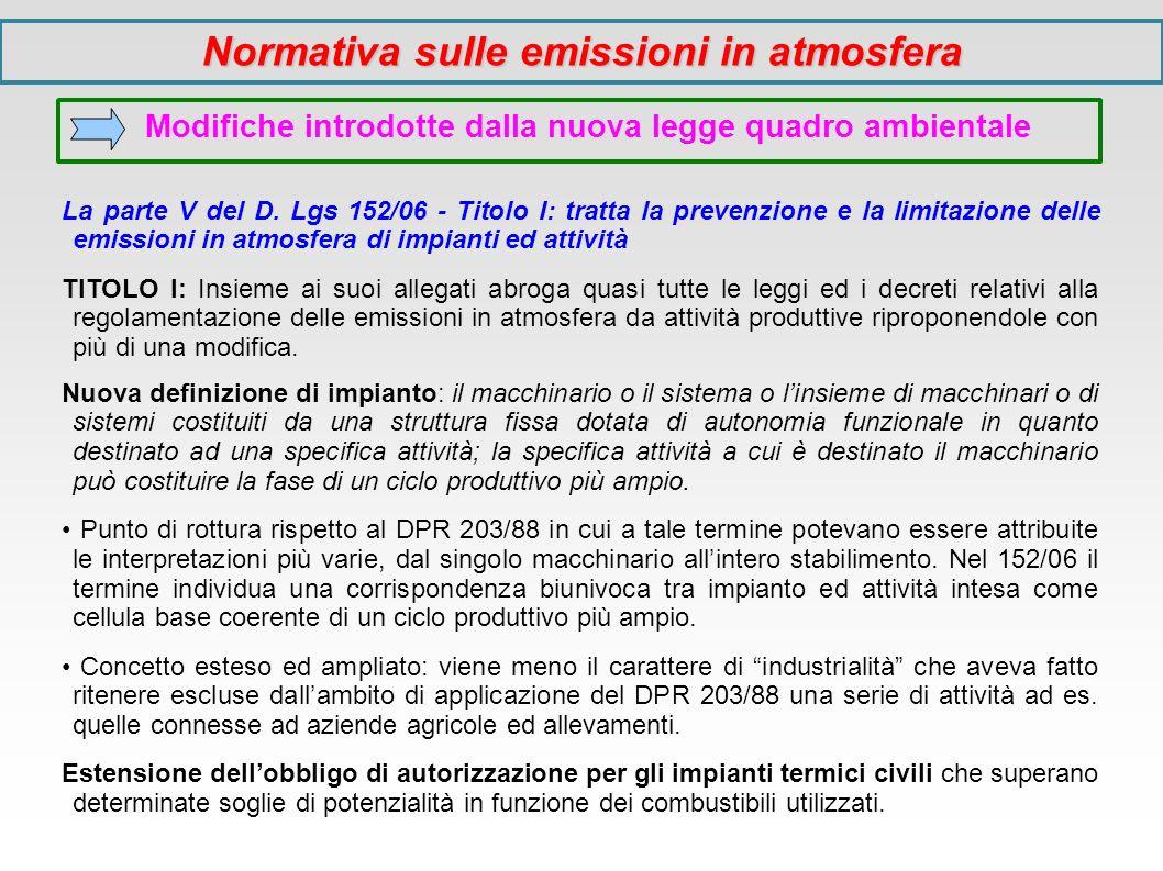 Modifiche introdotte dalla nuova legge quadro ambientale La parte V del D. Lgs 152/06 - Titolo I: tratta la prevenzione e la limitazione delle emissio