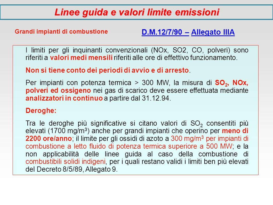 Grandi impianti di combustione D.M.12/7/90 – Allegato IIIA I limiti per gli inquinanti convenzionali (NOx, SO2, CO, polveri) sono riferiti a valori me
