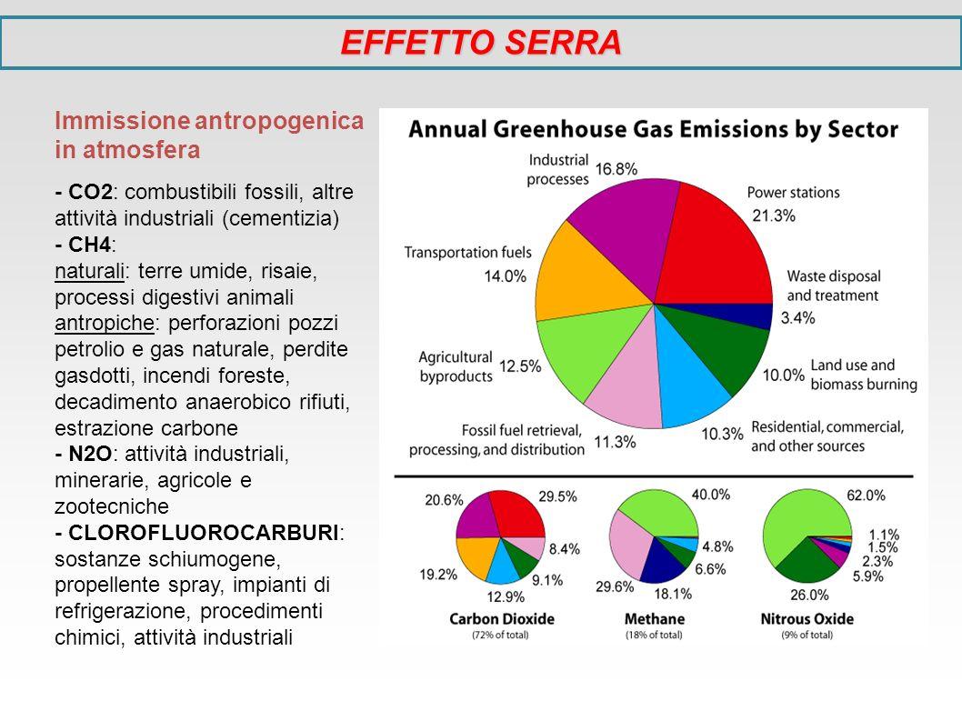 Immissione antropogenica in atmosfera - CO2: combustibili fossili, altre attività industriali (cementizia) - CH4: naturali: terre umide, risaie, proce