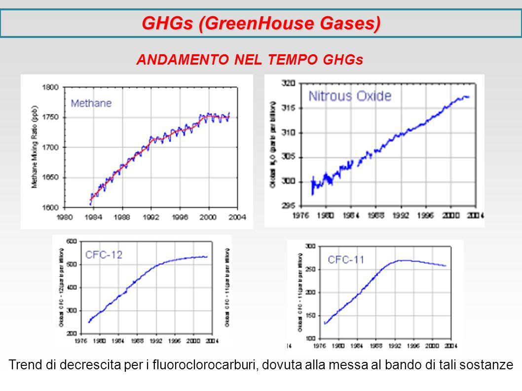 Trend di decrescita per i fluoroclorocarburi, dovuta alla messa al bando di tali sostanze ANDAMENTO NEL TEMPO GHGs GHGs (GreenHouse Gases)