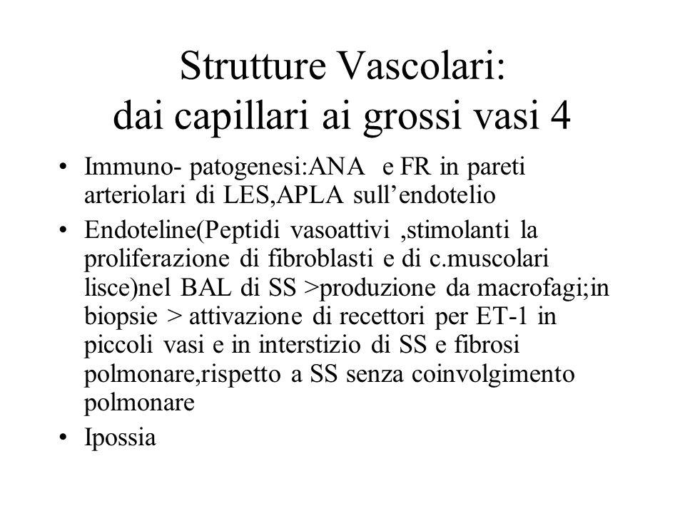 Strutture Vascolari: dai capillari ai grossi vasi 4 Immuno- patogenesi:ANA e FR in pareti arteriolari di LES,APLA sullendotelio Endoteline(Peptidi vas