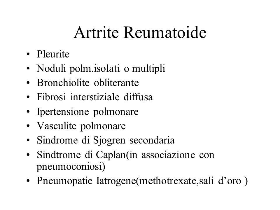 Artrite Reumatoide Pleurite Noduli polm.isolati o multipli Bronchiolite obliterante Fibrosi interstiziale diffusa Ipertensione polmonare Vasculite pol