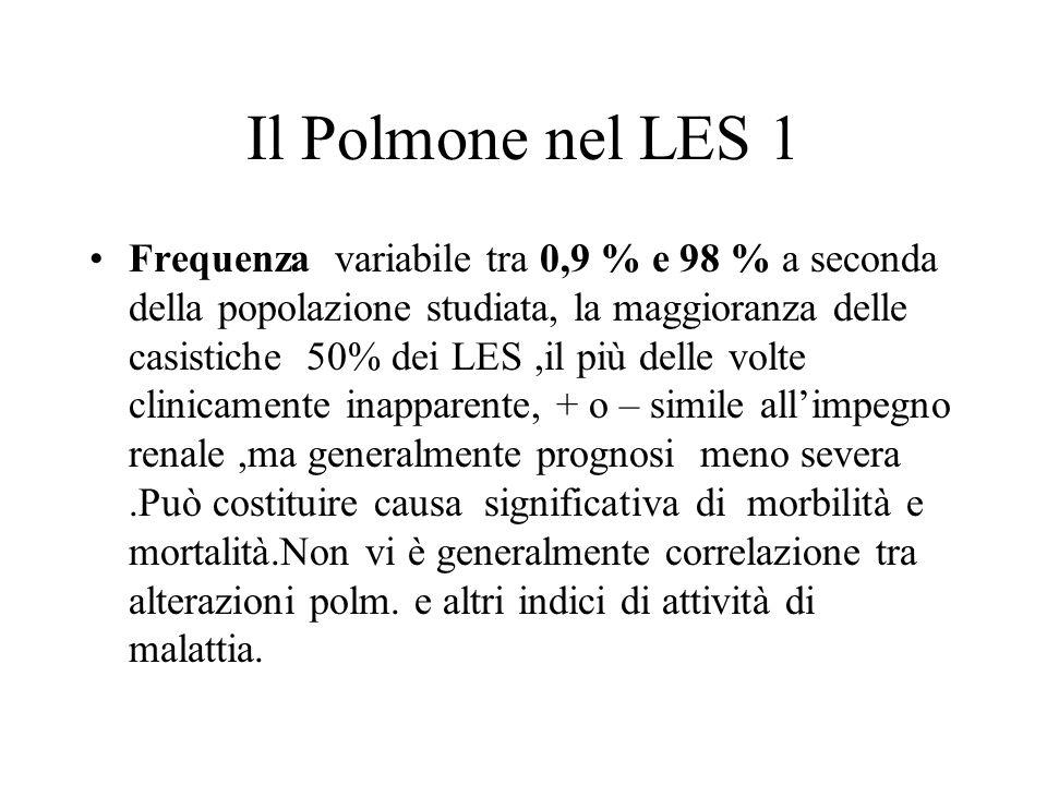 Il Polmone nel LES 1 Frequenza variabile tra 0,9 % e 98 % a seconda della popolazione studiata, la maggioranza delle casistiche 50% dei LES,il più del