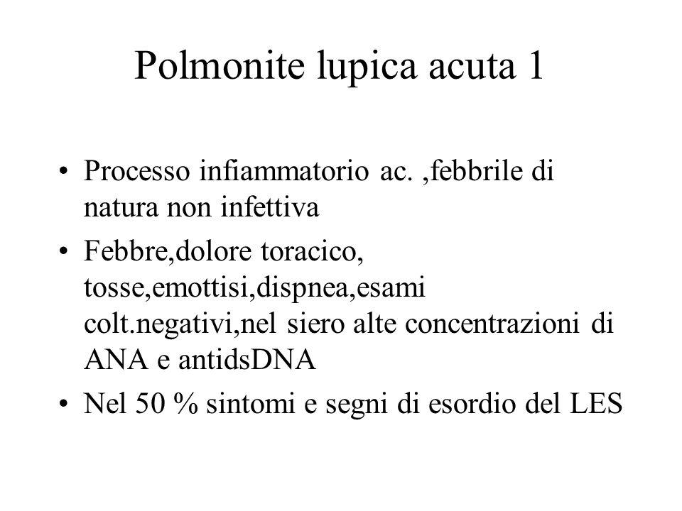 Polmonite lupica acuta 1 Processo infiammatorio ac.,febbrile di natura non infettiva Febbre,dolore toracico, tosse,emottisi,dispnea,esami colt.negativ