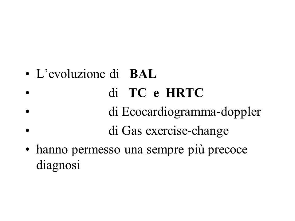 Levoluzione di BAL di TC e HRTC di Ecocardiogramma-doppler di Gas exercise-change hanno permesso una sempre più precoce diagnosi