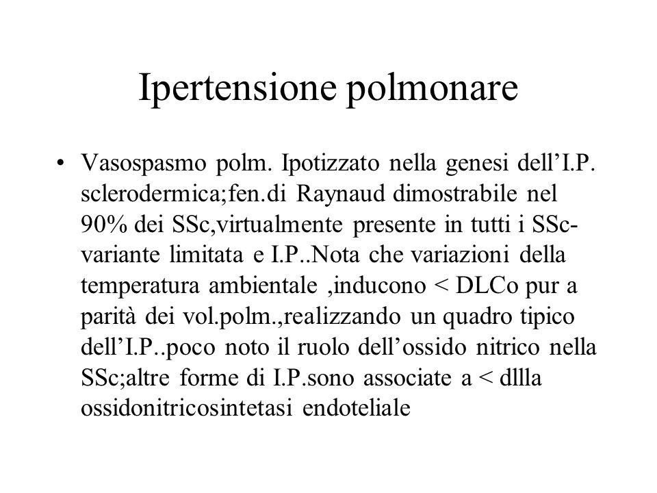 Ipertensione polmonare Vasospasmo polm. Ipotizzato nella genesi dellI.P. sclerodermica;fen.di Raynaud dimostrabile nel 90% dei SSc,virtualmente presen