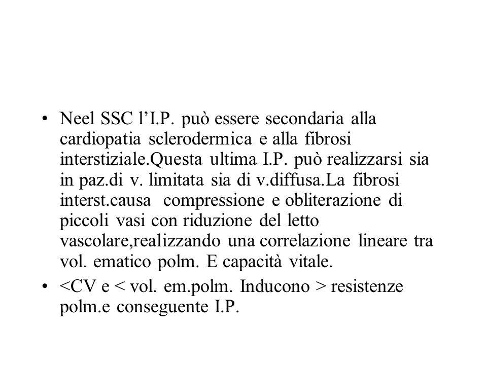 Neel SSC lI.P. può essere secondaria alla cardiopatia sclerodermica e alla fibrosi interstiziale.Questa ultima I.P. può realizzarsi sia in paz.di v. l