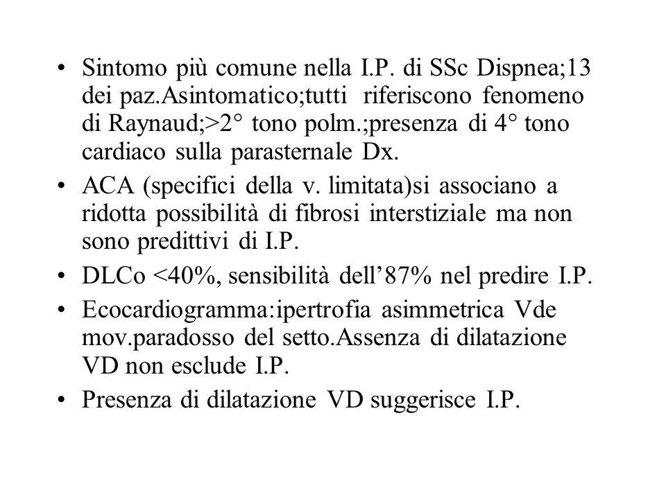 Sintomo più comune nella I.P. di SSc Dispnea;13 dei paz.Asintomatico;tutti riferiscono fenomeno di Raynaud;>2° tono polm.;presenza di 4° tono cardiaco