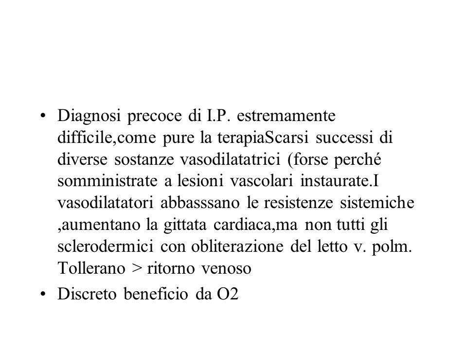 Diagnosi precoce di I.P. estremamente difficile,come pure la terapiaScarsi successi di diverse sostanze vasodilatatrici (forse perché somministrate a