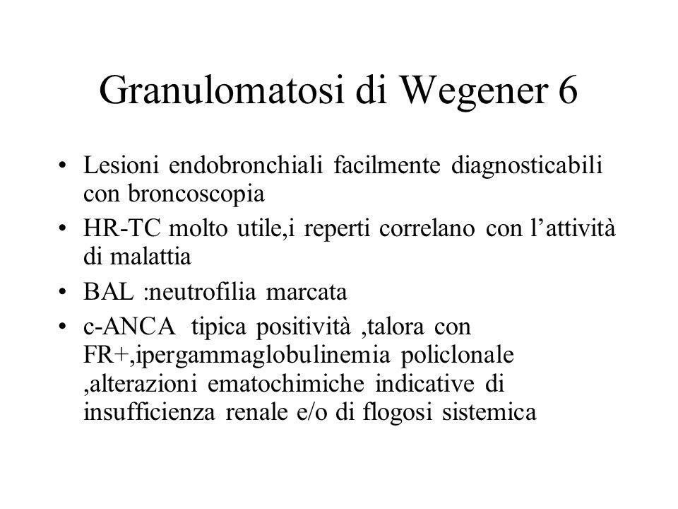 Granulomatosi di Wegener 6 Lesioni endobronchiali facilmente diagnosticabili con broncoscopia HR-TC molto utile,i reperti correlano con lattività di m