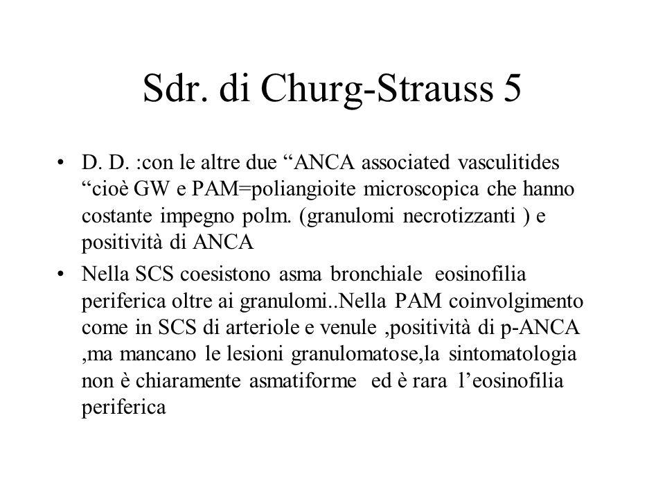 Sdr. di Churg-Strauss 5 D. D. :con le altre due ANCA associated vasculitides cioè GW e PAM=poliangioite microscopica che hanno costante impegno polm.