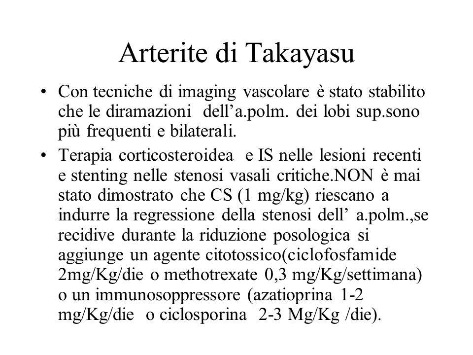 Arterite di Takayasu Con tecniche di imaging vascolare è stato stabilito che le diramazioni della.polm. dei lobi sup.sono più frequenti e bilaterali.