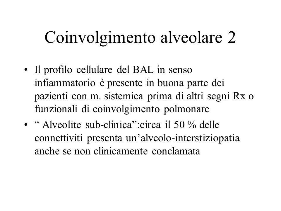 Coinvolgimento alveolare 2 Il profilo cellulare del BAL in senso infiammatorio è presente in buona parte dei pazienti con m. sistemica prima di altri