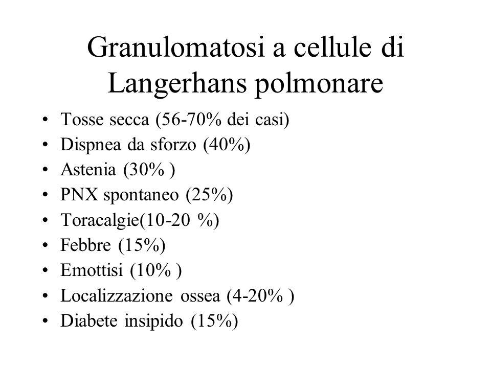 Granulomatosi a cellule di Langerhans polmonare Tosse secca (56-70% dei casi) Dispnea da sforzo (40%) Astenia (30% ) PNX spontaneo (25%) Toracalgie(10