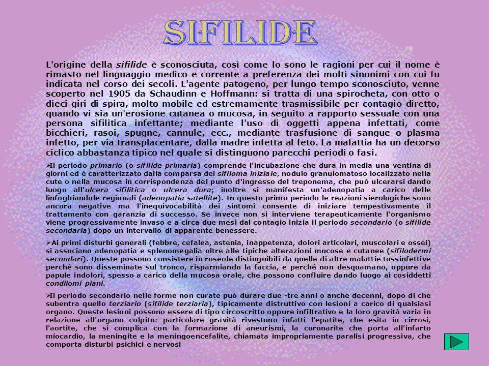 L origine della sifilide è sconosciuta, così come lo sono le ragioni per cui il nome è rimasto nel linguaggio medico e corrente a preferenza dei molti sinonimi con cui fu indicata nel corso dei secoli.