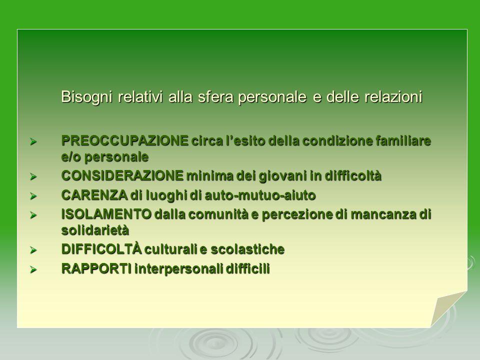 BISOGNI RILEVATI BISOGNI RELATIVI ALLA SFERA PERSONALE E DELLE RELAZIONI BISOGNI ECONOMICI FINANZIARI BISOGNI LEGATI AGLI AFFETTI FAMILIARI BISOGNI RE
