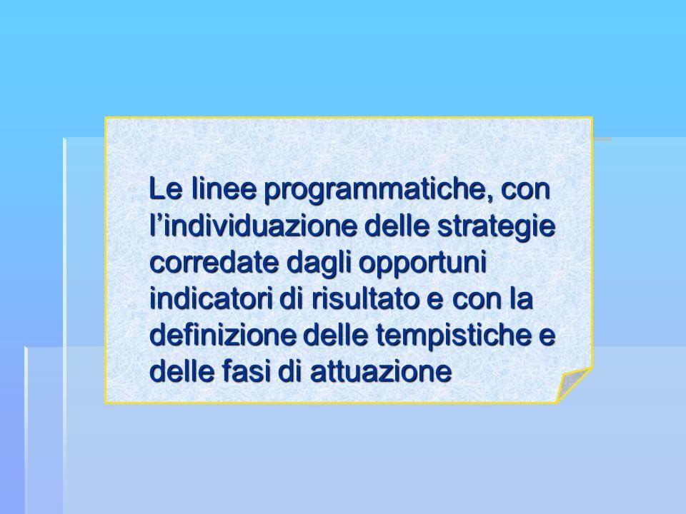 Le linee programmatiche, con lindividuazione delle strategie corredate dagli opportuni indicatori di risultato e con la definizione delle tempistiche e delle fasi di attuazione Le linee programmatiche, con lindividuazione delle strategie corredate dagli opportuni indicatori di risultato e con la definizione delle tempistiche e delle fasi di attuazione