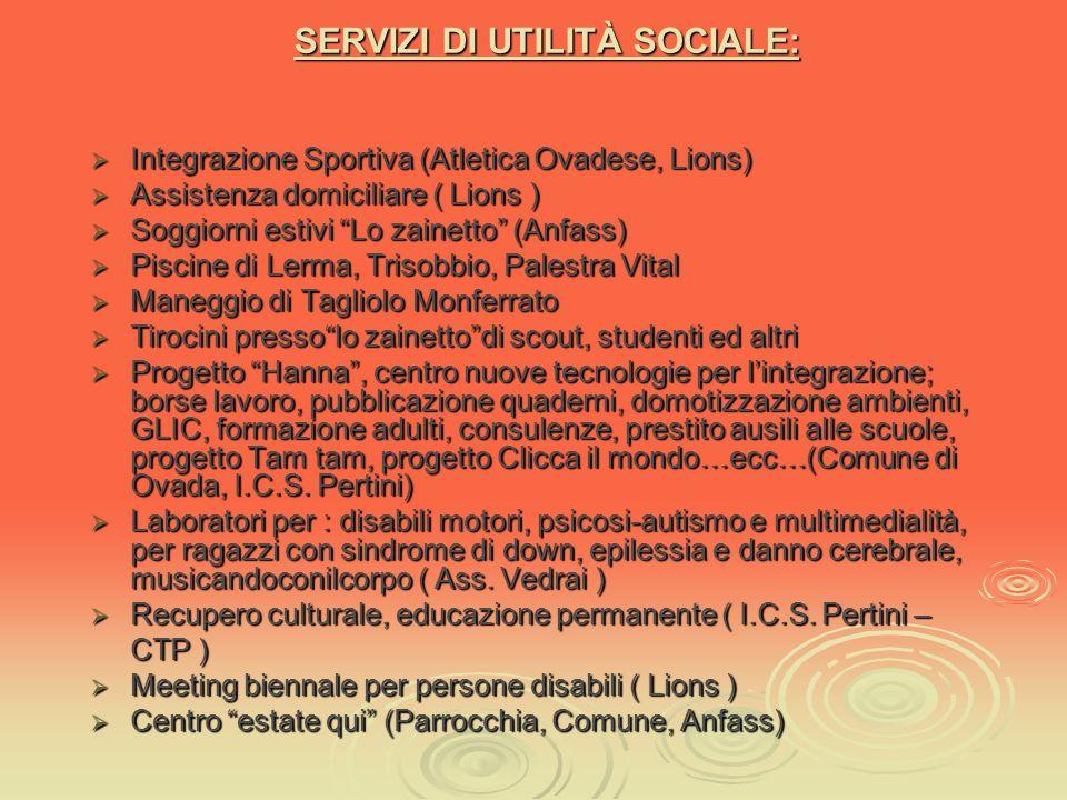 SERVIZI SOCIO-SANITARI A.S.L. 22 : Inserimento ed integrazione presìdi Centro diurno lo zainetto ADI SID N.P.I. Assegno terapeutico Borsa lavoro D.S.M