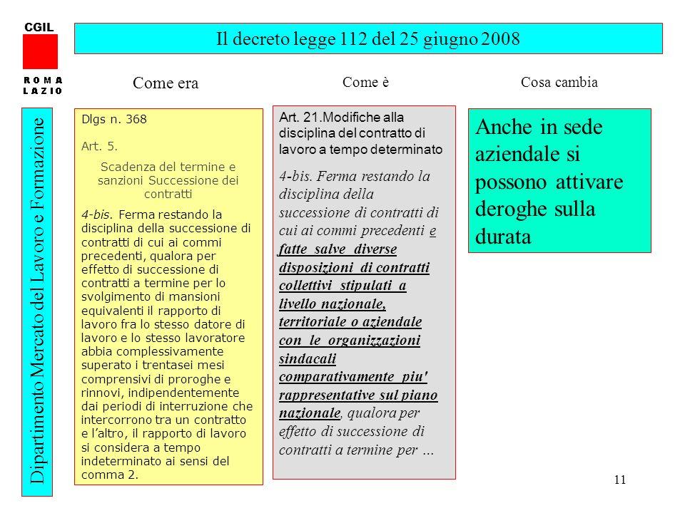 11 CGIL Dipartimento Mercato del Lavoro e Formazione Il decreto legge 112 del 25 giugno 2008 Dlgs n.