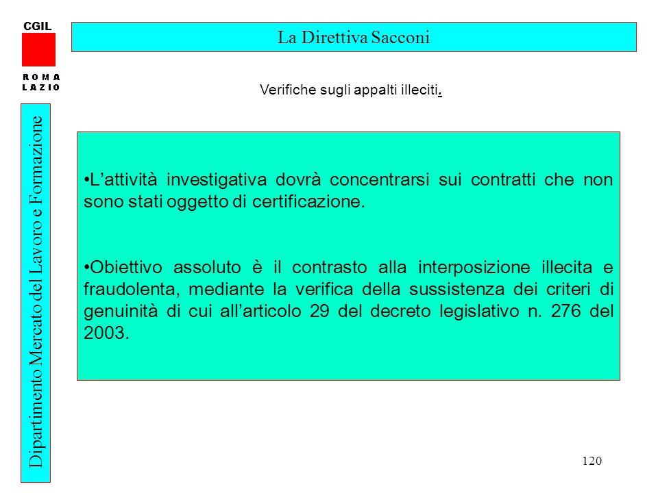 120 CGIL Dipartimento Mercato del Lavoro e Formazione La Direttiva Sacconi Lattività investigativa dovrà concentrarsi sui contratti che non sono stati oggetto di certificazione.