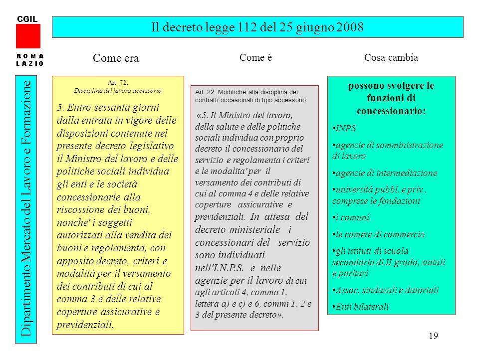19 CGIL Dipartimento Mercato del Lavoro e Formazione Il decreto legge 112 del 25 giugno 2008 Art.