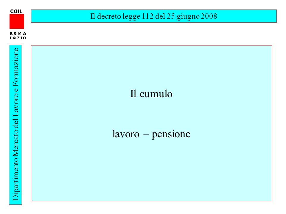 2 CGIL Dipartimento Mercato del Lavoro e Formazione Il decreto legge 112 del 25 giugno 2008 Il cumulo lavoro – pensione