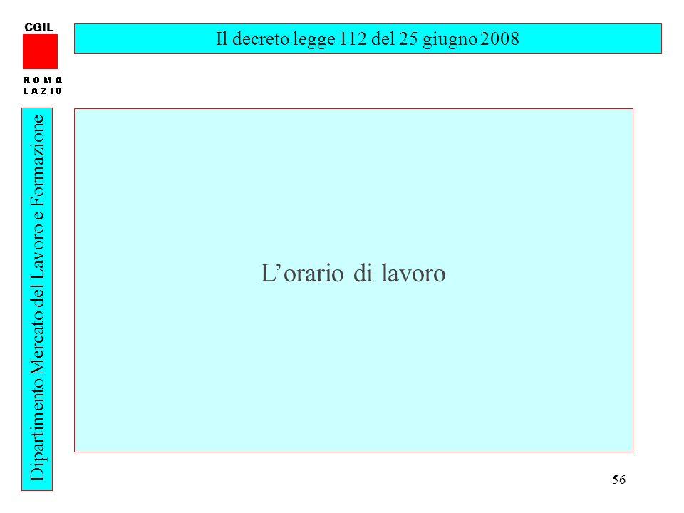 56 CGIL Dipartimento Mercato del Lavoro e Formazione Il decreto legge 112 del 25 giugno 2008 Lorario di lavoro