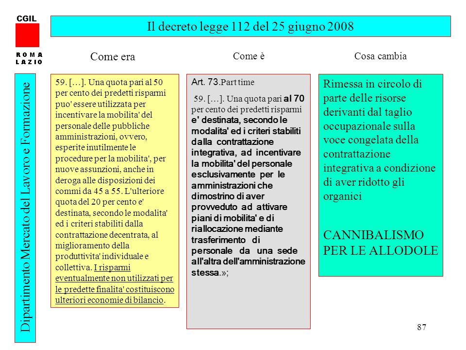87 CGIL Dipartimento Mercato del Lavoro e Formazione Il decreto legge 112 del 25 giugno 2008 59.