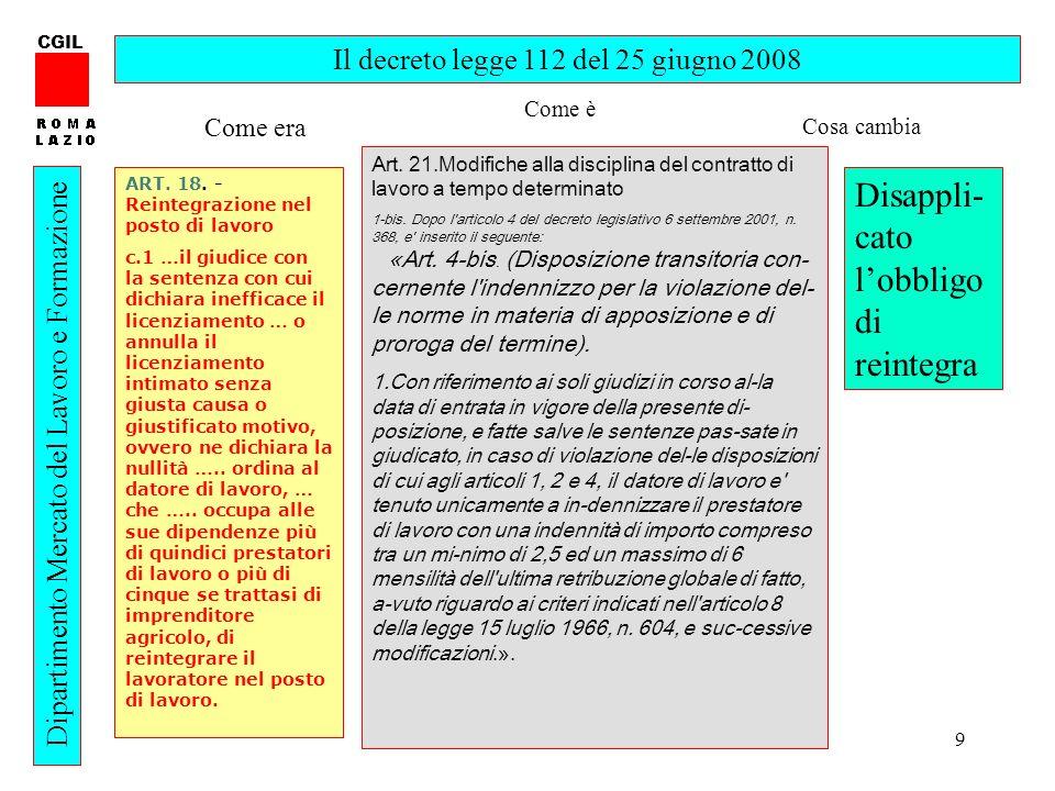 9 CGIL Dipartimento Mercato del Lavoro e Formazione Il decreto legge 112 del 25 giugno 2008 ART.
