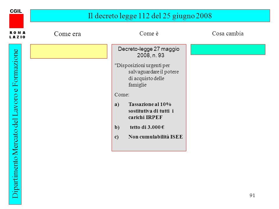 91 CGIL Dipartimento Mercato del Lavoro e Formazione Il decreto legge 112 del 25 giugno 2008 Decreto-legge 27 maggio 2008, n.