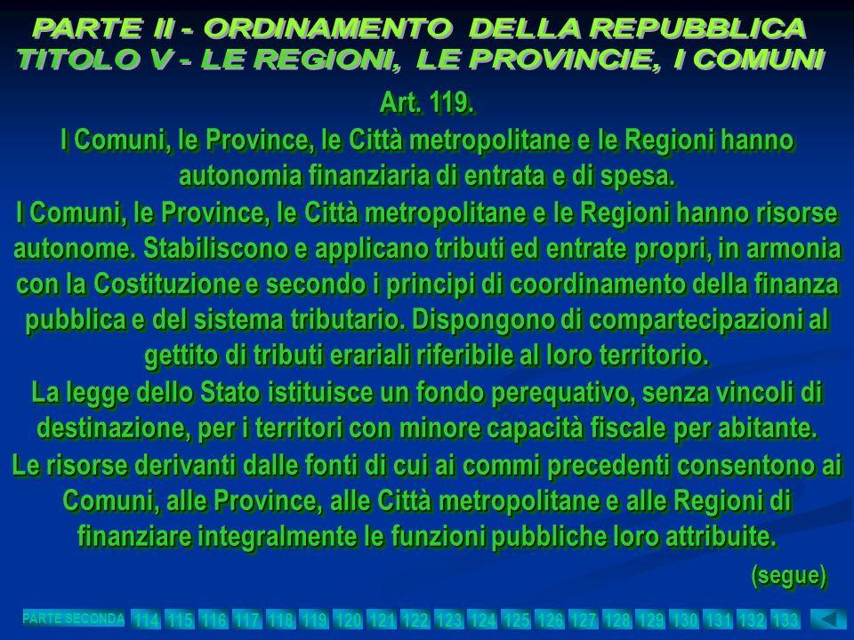 Art. 119. I Comuni, le Province, le Città metropolitane e le Regioni hanno autonomia finanziaria di entrata e di spesa. I Comuni, le Province, le Citt