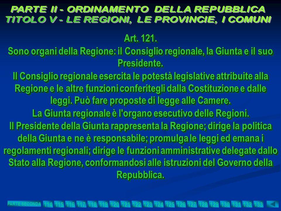 Art. 121. Sono organi della Regione: il Consiglio regionale, la Giunta e il suo Presidente. Il Consiglio regionale esercita le potestà legislative att