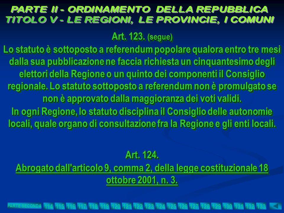 Art. 123. (segue) Lo statuto è sottoposto a referendum popolare qualora entro tre mesi dalla sua pubblicazione ne faccia richiesta un cinquantesimo de
