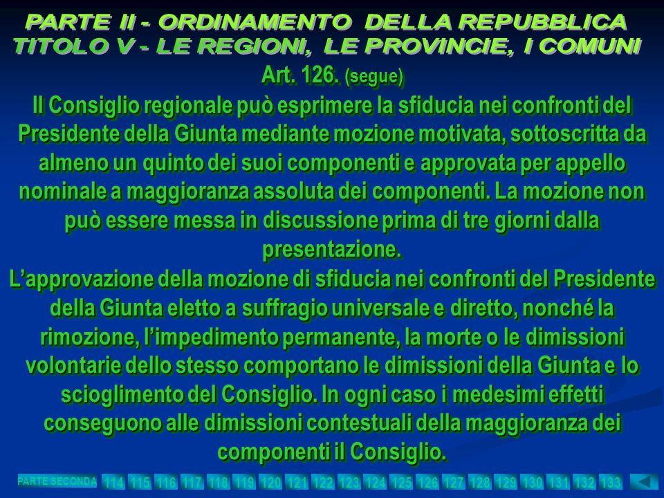 Art. 126. (segue) Il Consiglio regionale può esprimere la sfiducia nei confronti del Presidente della Giunta mediante mozione motivata, sottoscritta d