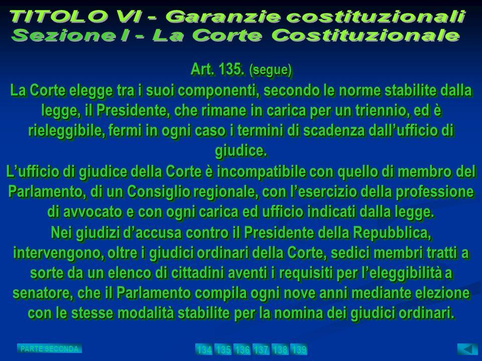 Art. 135. (segue) La Corte elegge tra i suoi componenti, secondo le norme stabilite dalla legge, il Presidente, che rimane in carica per un triennio,