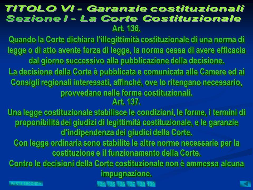 Art. 137. Una legge costituzionale stabilisce le condizioni, le forme, i termini di proponibilità dei giudizi di legittimità costituzionale, e le gara