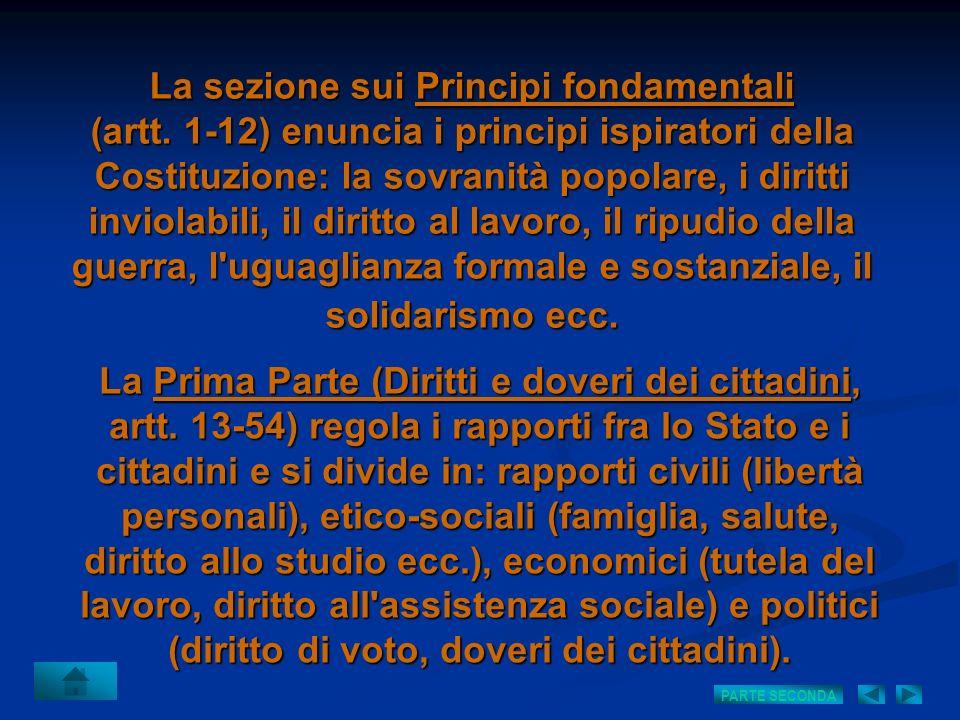 La sezione sui Principi fondamentali (artt. 1-12) enuncia i principi ispiratori della Costituzione: la sovranità popolare, i diritti inviolabili, il d