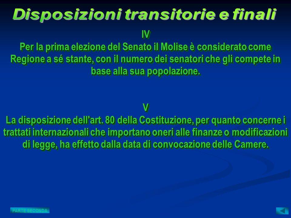 V La disposizione dell'art. 80 della Costituzione, per quanto concerne i trattati internazionali che importano oneri alle finanze o modificazioni di l