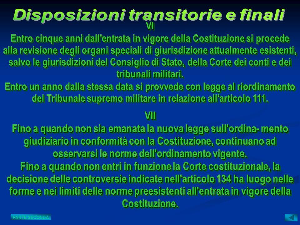 VII Fino a quando non sia emanata la nuova legge sull'ordina- mento giudiziario in conformità con la Costituzione, continuano ad osservarsi le norme d