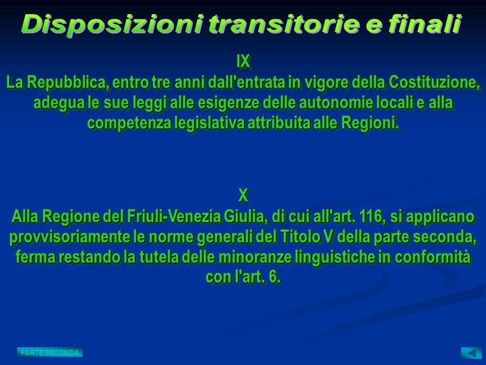 X Alla Regione del Friuli-Venezia Giulia, di cui all'art. 116, si applicano provvisoriamente le norme generali del Titolo V della parte seconda, ferma