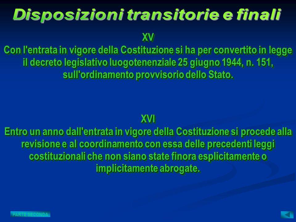 XVI Entro un anno dall'entrata in vigore della Costituzione si procede alla revisione e al coordinamento con essa delle precedenti leggi costituzional
