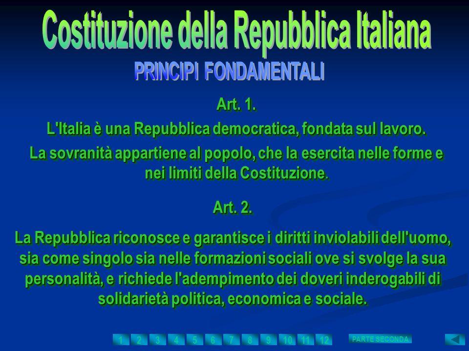 Art. 1. L'Italia è una Repubblica democratica, fondata sul lavoro. La sovranità appartiene al popolo, che la esercita nelle forme e nei limiti della C